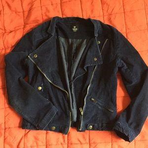 Jackets & Blazers - Navy cotton blend corduroy moto jacket  size M